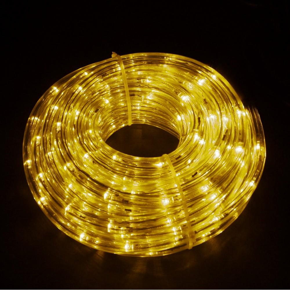 Светодиодный дюралайт 10м с желтыми светодиодами, с контроллером диаметром 13 мм, резка каждые 2 метра