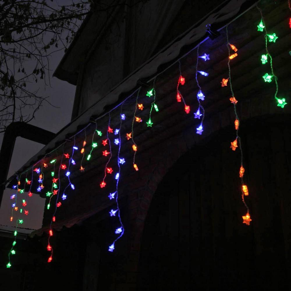 LED электрогигрянда Айсикл 100 разноцветных звёздочек, с контроллером