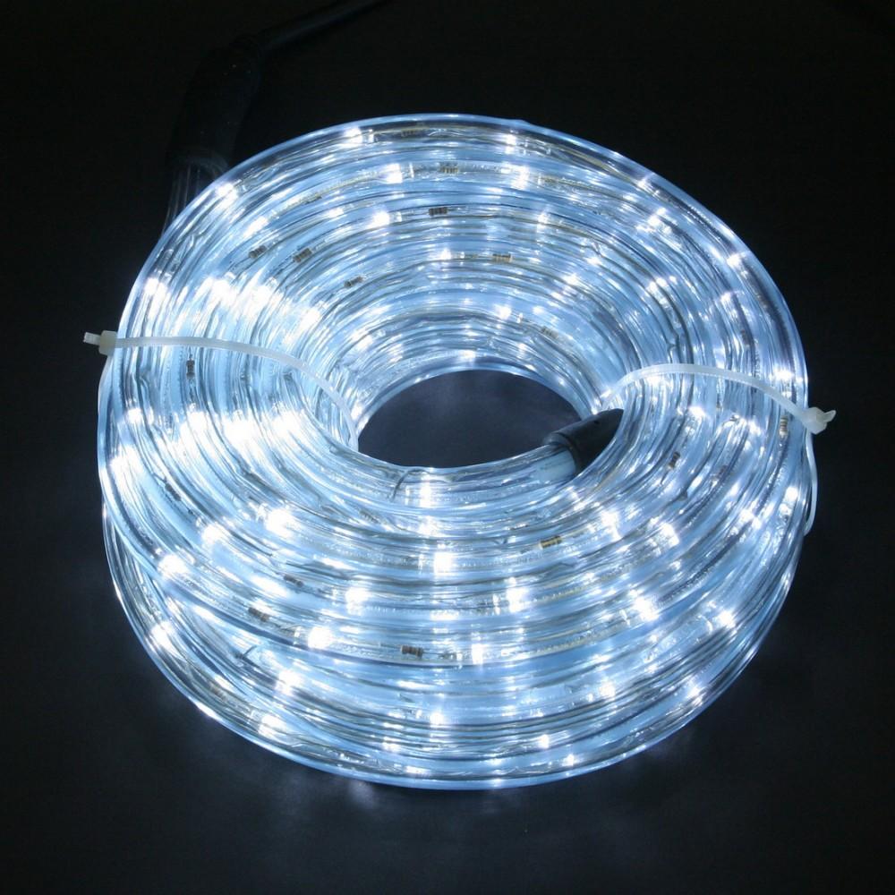 Светодиодный дюралайт 10м с белыми светодиодами, с контроллером диаметром 13 мм, резка каждые 2 метра