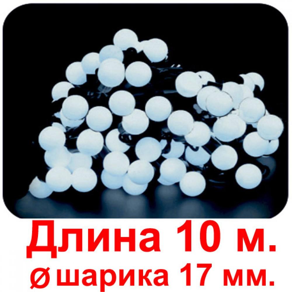 """LED электрогигрянда """"Шарики маленькие диам. 17 мм. белые"""", постоянное свечение, 60 светодиодов"""