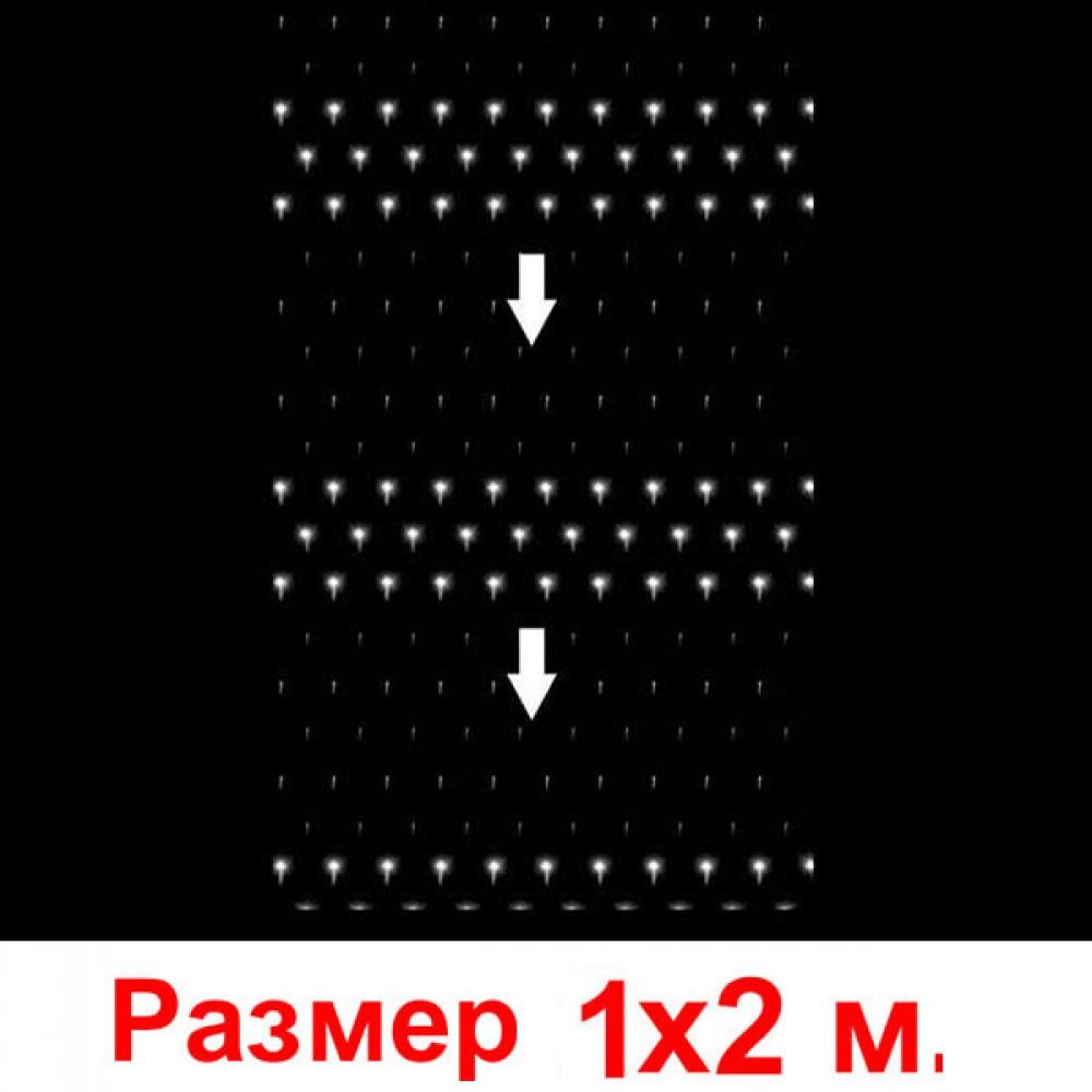 """LED электрогигрянда - сетка """"Водопад"""", 2х1 м, прозрачный провод, соединяются последовательно до 9 шт белый"""