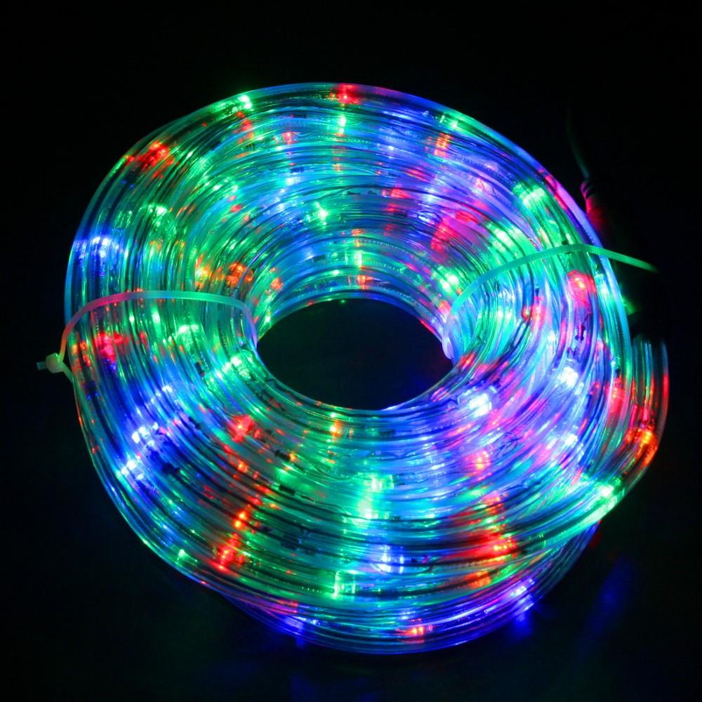 Светодиодный дюралайт 10м с разноцветными светодиодами (кр. +син. +бел. +зел. ), с контроллером диаметром 13 мм, резка каждые 2 метра