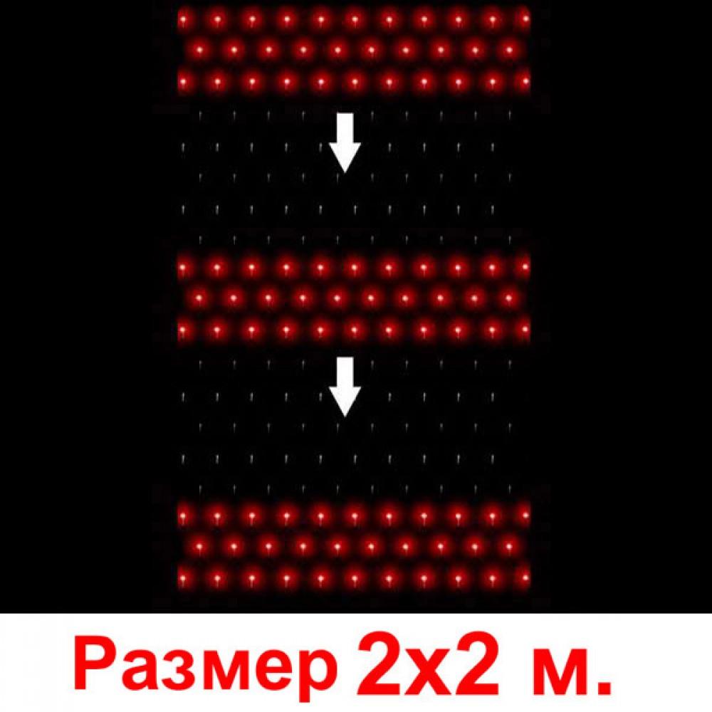 """LED электрогигрянда - сетка """"Водопад"""", 2х2 м, прозрачный провод, соединяются последовательнодо 5 шт красный"""