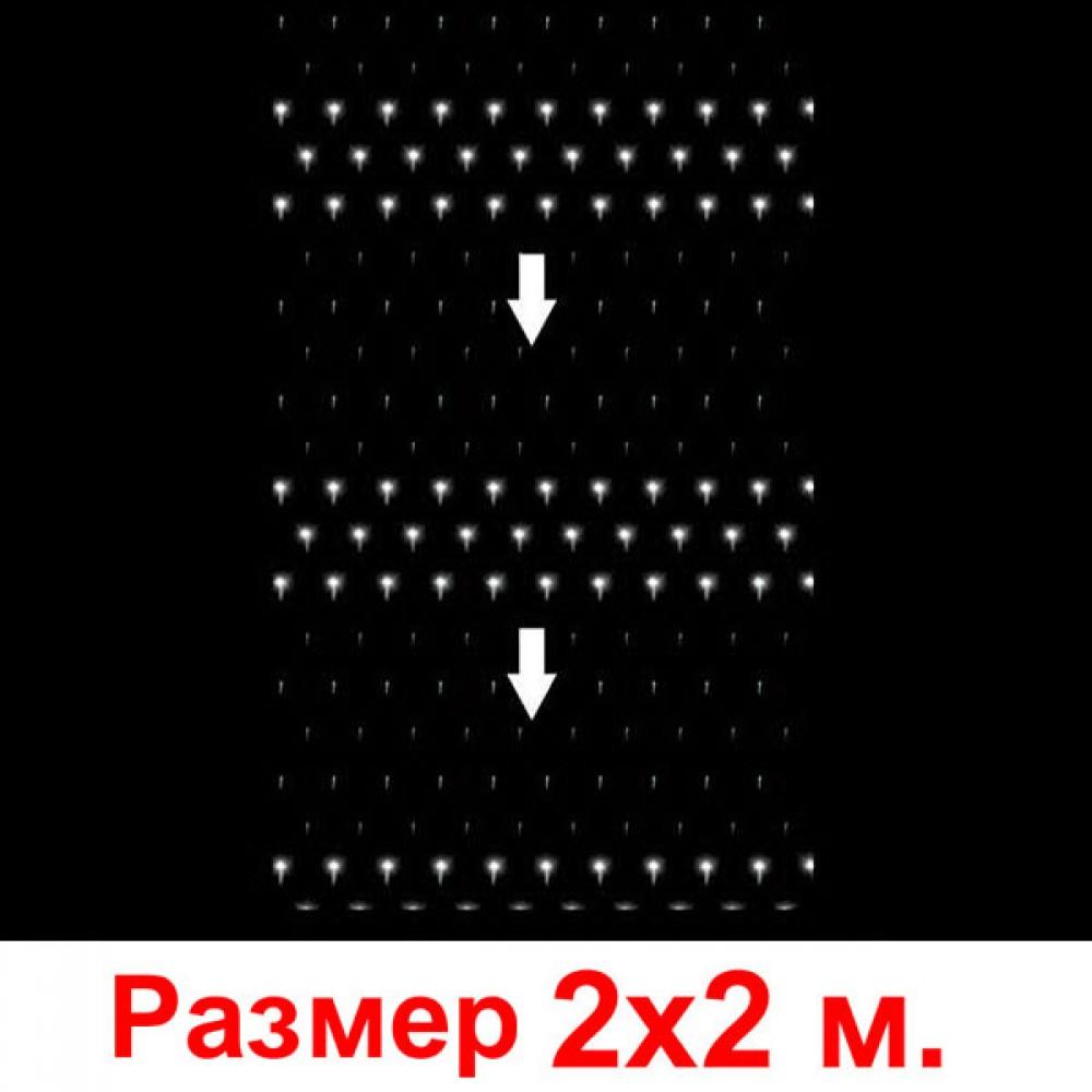 """LED электрогигрянда - сетка """"Водопад"""", 2х2 м, прозрачный провод, соединяются последовательнодо 5 шт белый"""