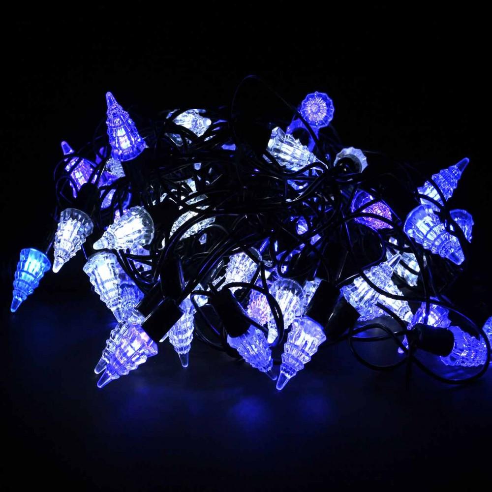 "LED электрогигрянда ""Ёлочки уличные сине-белые"", 72 светодиода, 8 м, (IP44)"