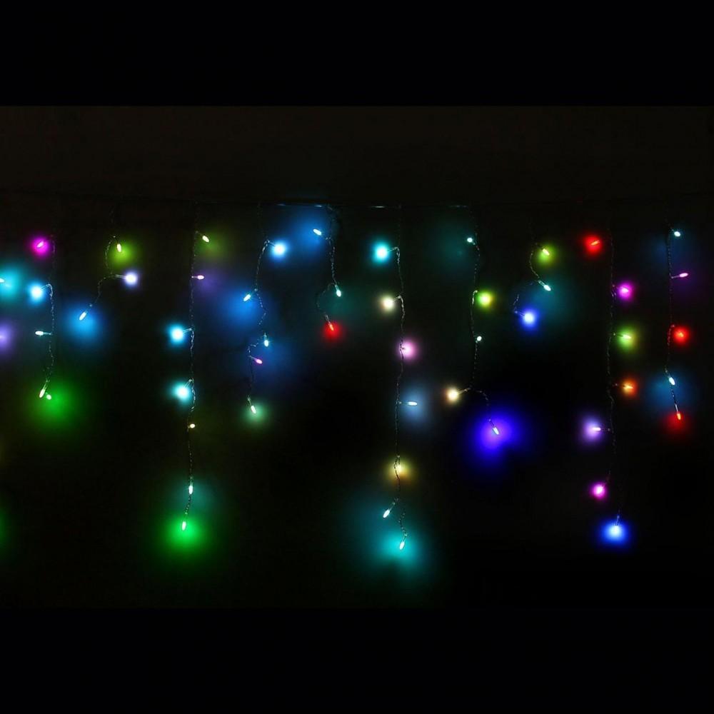 LED электрогигрянда Айсикл RGRB резиновый провод, 92 разноцветных мерцающих светодиода