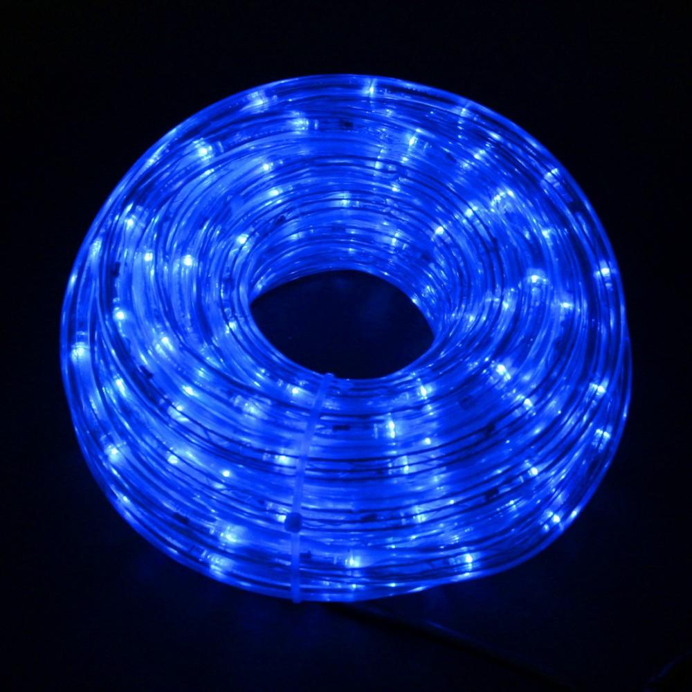 Светодиодный дюралайт 10м с синими светодиодами, с контроллером диаметром 13 мм, резка каждые 2 метра