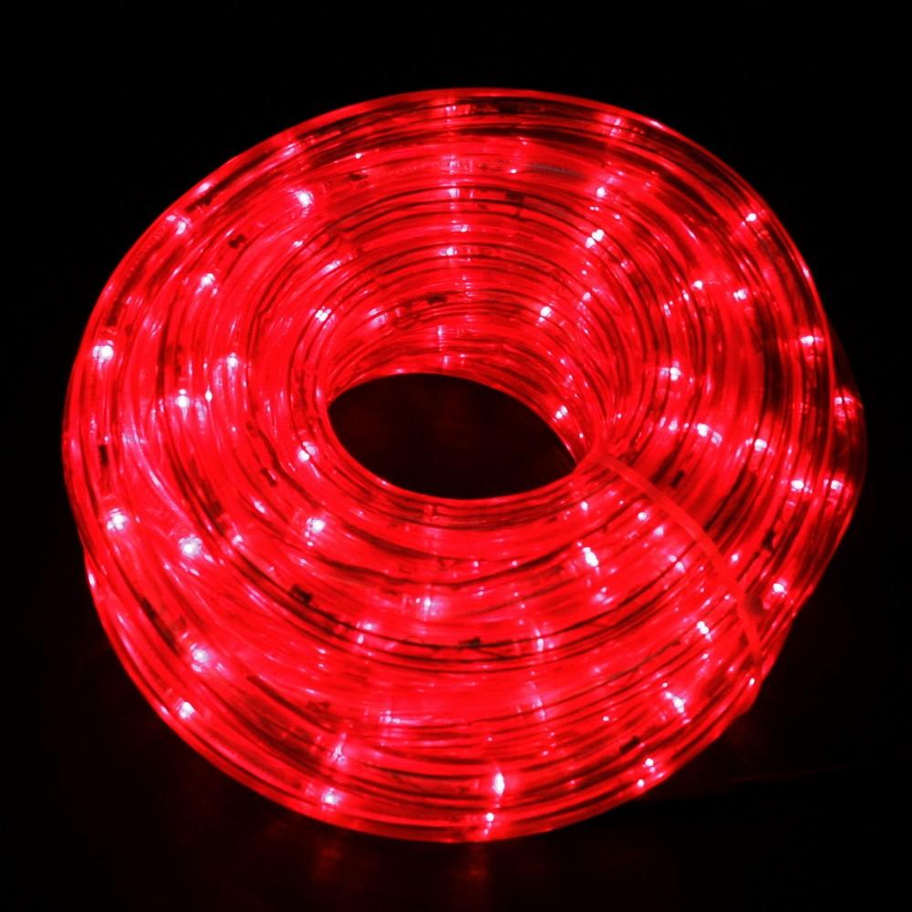 Светодиодный дюралайт 100м с красными светодиодами диаметром 13 мм, резка каждые 2 метра