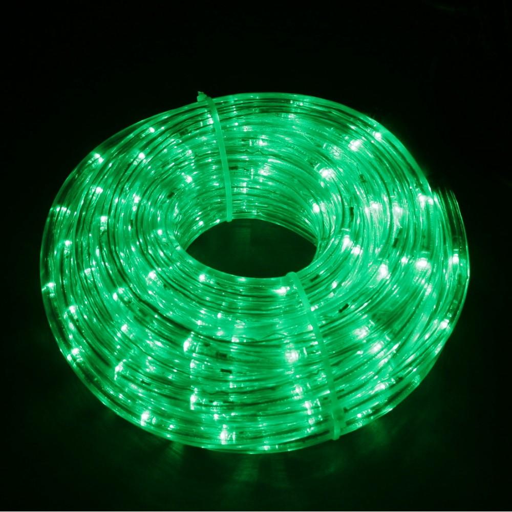 Светодиодный дюралайт 10м с зелёными светодиодами, с контроллером диаметром 13 мм, резка каждые 2 метра